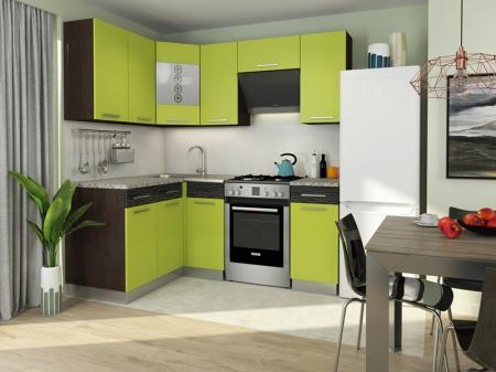 Кухонный гарнитур Алиса-11 угловая Венге/Лайм